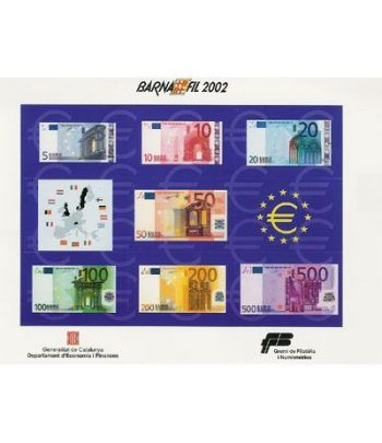 2002 BARNAFIL. Hojita recuerdo billetes euro  - 2