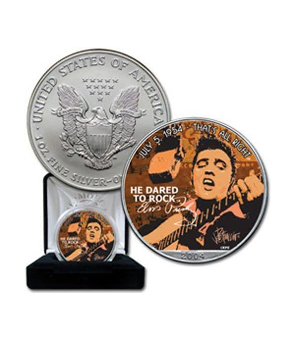 "Moneda de plata 1$ Estados Unidos Elvis ""that's all right"" 2004  - 2"