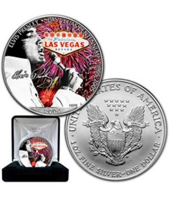 "Moneda de plata 1$ Estados Unidos Elvis ""in vegas"" 2005  - 2"