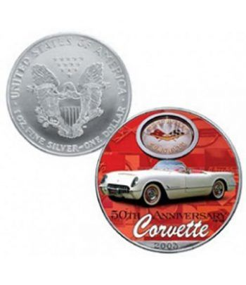 Moneda de plata colorizada 1$ Estados Unidos Corvette 2003  - 2