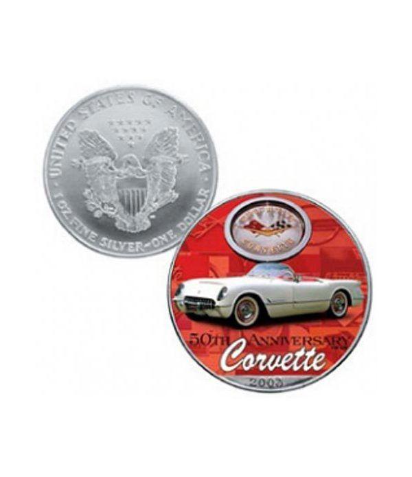 Moneda de plata colorizada 1$ Estados Unidos Corvette 2003  - 2