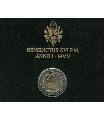 moneda conmemorativa 2 euros Vaticano 2005. Estuche Oficial.  - 2