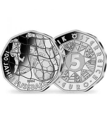 moneda Austria 5 Euros 2004 (nueve esquinas) Futbol.  - 1