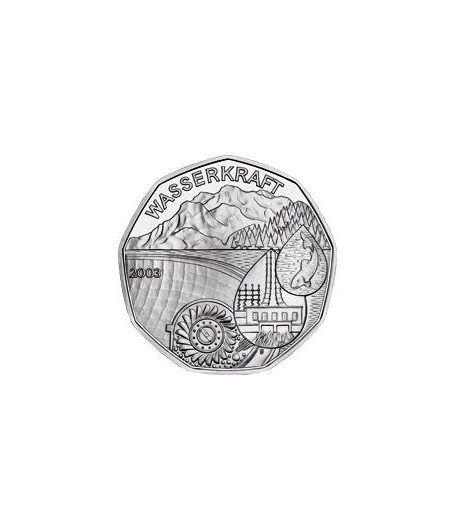 moneda Austria 5 Euros 2003 (nueve esquinas) Año del Agua  - 1