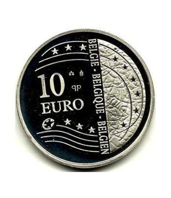 moneda Belgica 10 Euros 2004 ampliación UE. Estuche Proof. Plata  - 1