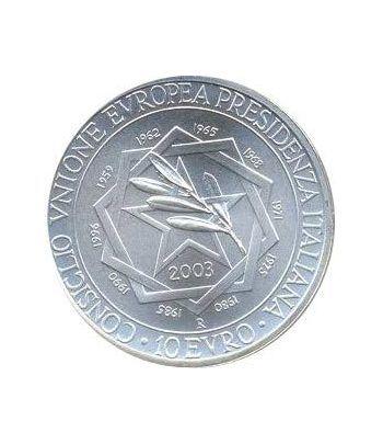 Italia 10 Euros 2003 Presidencia de la U.E. Estuche.  - 1