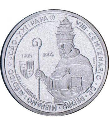 Portugal 5 Euros 2005 800 Aniversario Papa Juan XXI. Plata  - 1