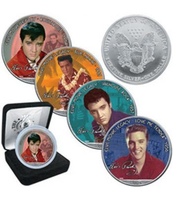 "Moneda de plata 1$ Estados Unidos Elvis ""Blue Hawai"" 2005  - 2"