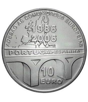 Portugal 10 Euros 2006 20 Aniversario Adhesión UE. Plata  - 1