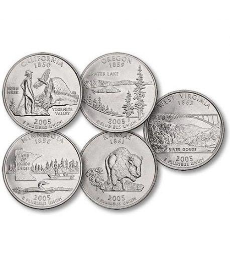 E.E.U.U. 1/4$ 2005 Statehood Quarters (5 monedas)  - 2