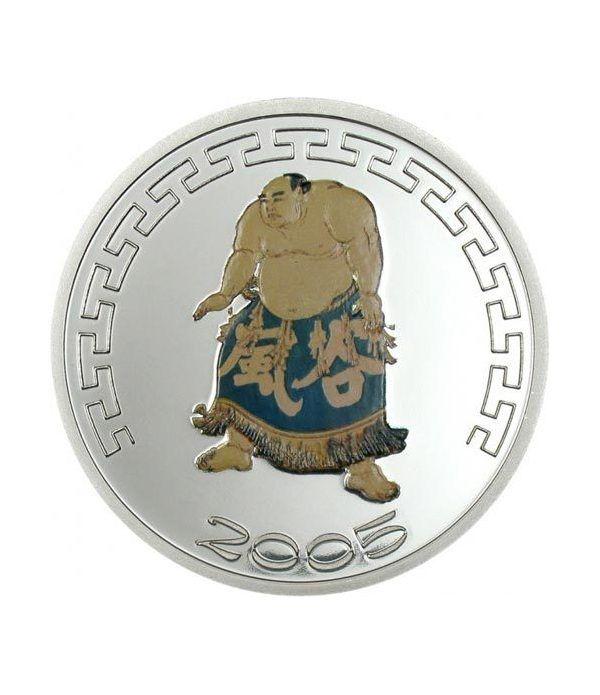 Mongolia 500 Tugrik de plata Sumo color II año 2005.  - 2