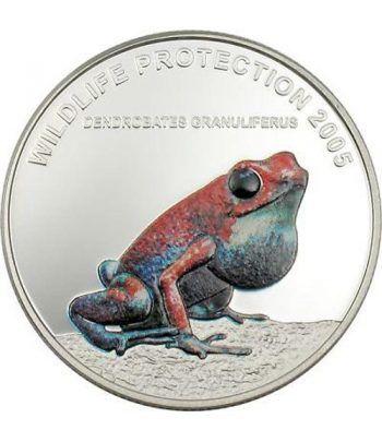 Moneda de Plata de Liberia 10$ Rana roja 2005.  - 2