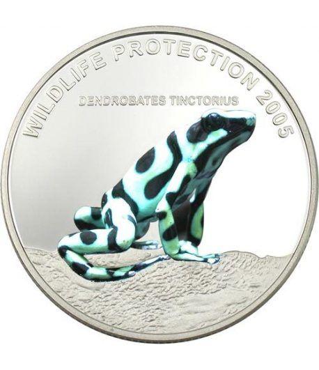 Moneda de Plata de Liberia 10$ Rana verde 2005.  - 2
