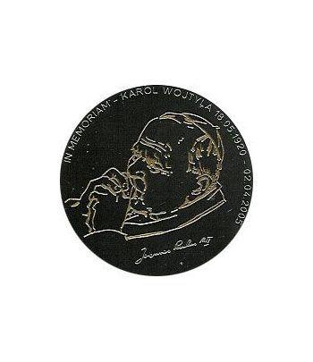 Moneda de Plata de Liberia 10$ Juan Pablo II 2005 negro proof.  - 2