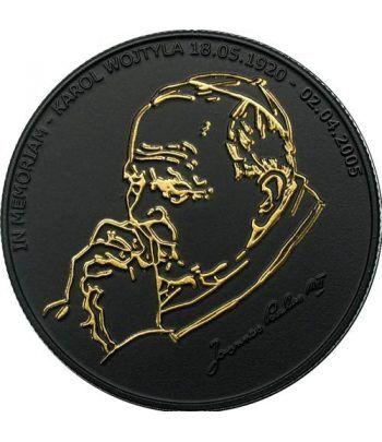 Moneda de Plata de Liberia 10$ Juan Pablo II 2005 negro mate.  - 2