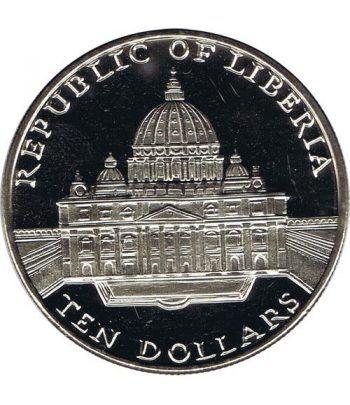 Moneda de Plata de Liberia 10$ Juan Pablo II 2001.  - 2