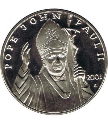 Moneda de Plata de Liberia 10$ Juan Pablo II 2001.  - 4