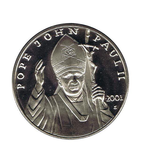 Moneda de Plata de Liberia 10$ Juan Pablo II 2001.  - 1