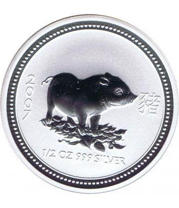 Moneda media onza de plata 1/2$ Australia Lunar 2007 Cerdo  - 1