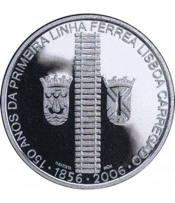 Portugal 8 Euros 2006 150 Años Línea Ferrea. Plata.  - 1
