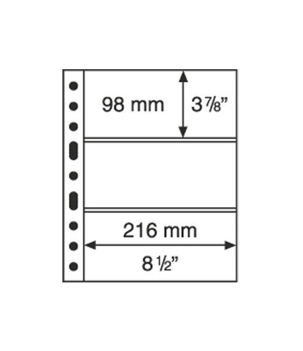LEUCHTTURM GRANDE 5 hojas transparentes con 3 departamentos. Album billetes - 2