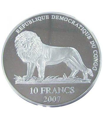 Moneda 2 onzas de plata 10 Fr. Rep. Congo Schumacher 2007  - 2