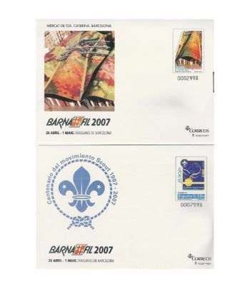 2007 BARNAFIL. Sobre Entero Postal (2) Mercados y Scouts  - 2