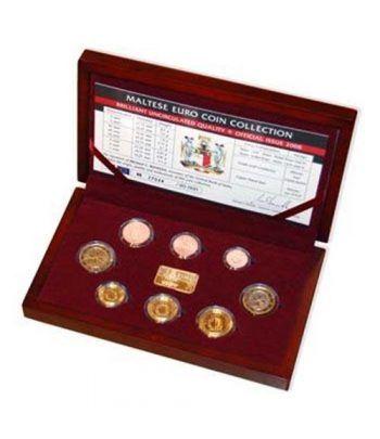Cartera oficial euroset Malta 2008. Estuche madera.  - 2