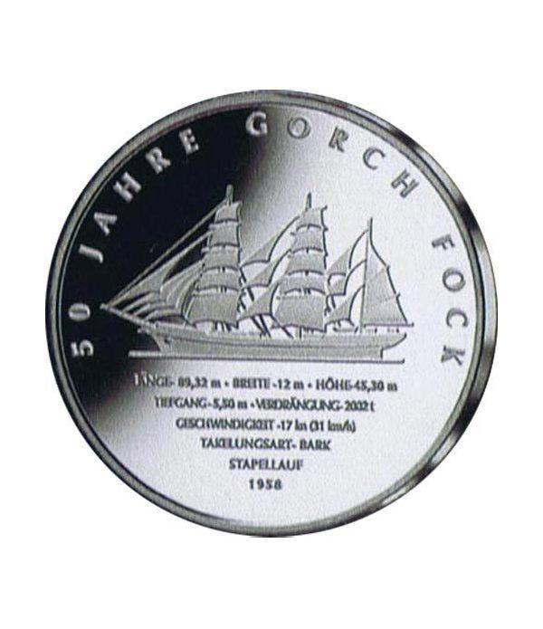 moneda Alemania 10 Euros 2008 J. Buque escuela.  - 1