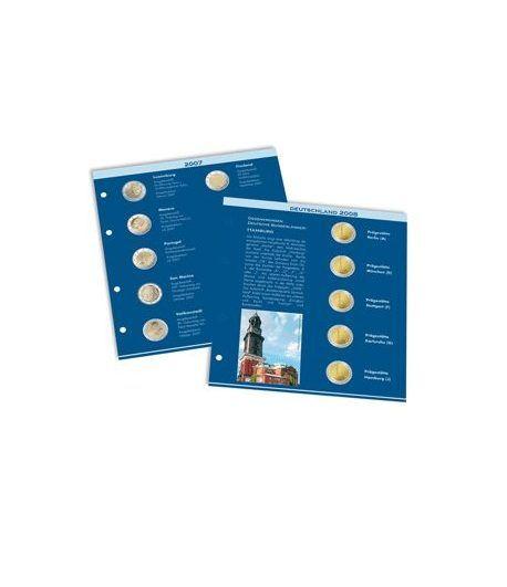 LEUCHTTURM Numis hoja preimpresa monedas de 2 Euros 2007/2008 Album Monedas Euro - 2