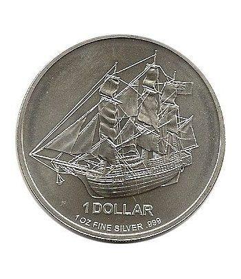 Moneda de plata 1$ Islas Cook 2009. Barco.  - 1
