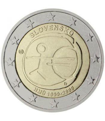 """moneda Eslovaquia 2 euros 2009 """"10 Años de la EMU""""  - 2"""