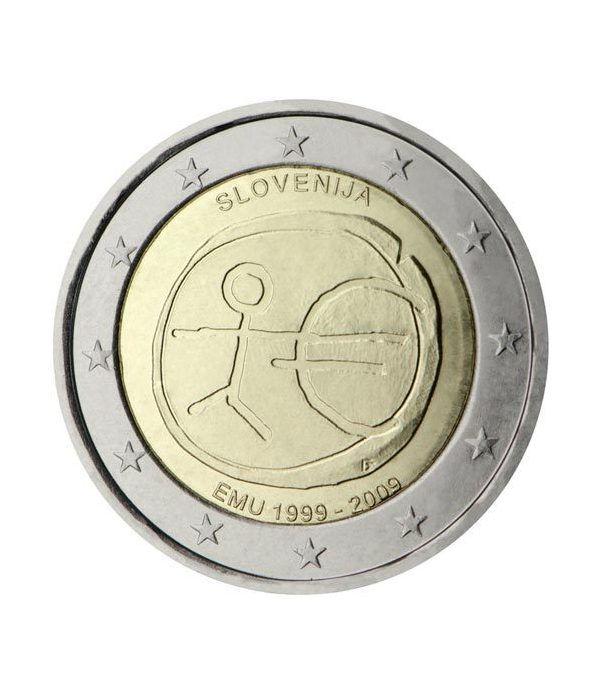 """moneda Eslovenia 2 euros 2009 """"10 Años de la EMU""""  - 2"""
