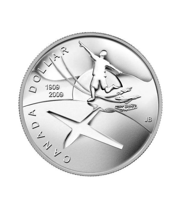 Moneda de plata 1 Dollar Canada 2009 Centenario Aviación. Proof.  - 4