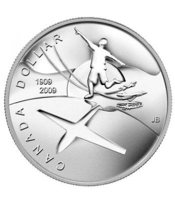 Moneda de plata 1 Dollar Canada 2009 Centenario Aviación. Proof.  - 1