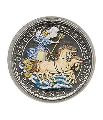 Moneda de plata color Britannia 2 Pounds Inglaterra 2009.  - 2