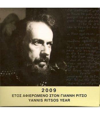 Cartera oficial euroset Grecia 2009 + 10€ Yannis Ritsos  - 1