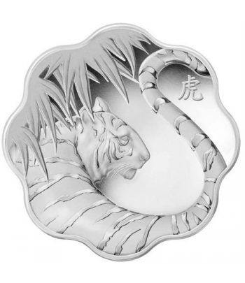 Moneda de plata 15$ Canada Serie Lotus Tigre 2010  - 1