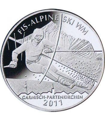 moneda Alemania 10 Euros 2010 Ski Alpino. Plata.  - 1
