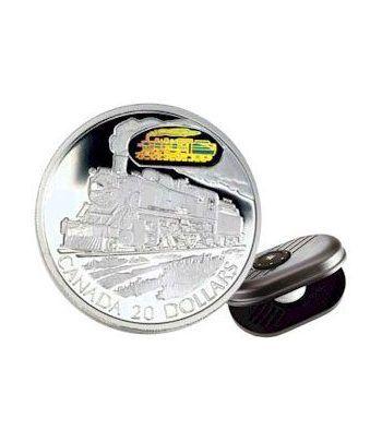 Canada 20$ (2002) Serie transportes Plata holograma. Tren.  - 2