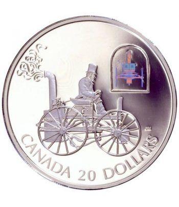 Moneda de plata 20 $ Canada 2000 Coche Vapor. Holograma.  - 1
