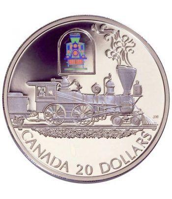 Moneda de plata 20 $ Canada 2000 Tren. Holograma.  - 4