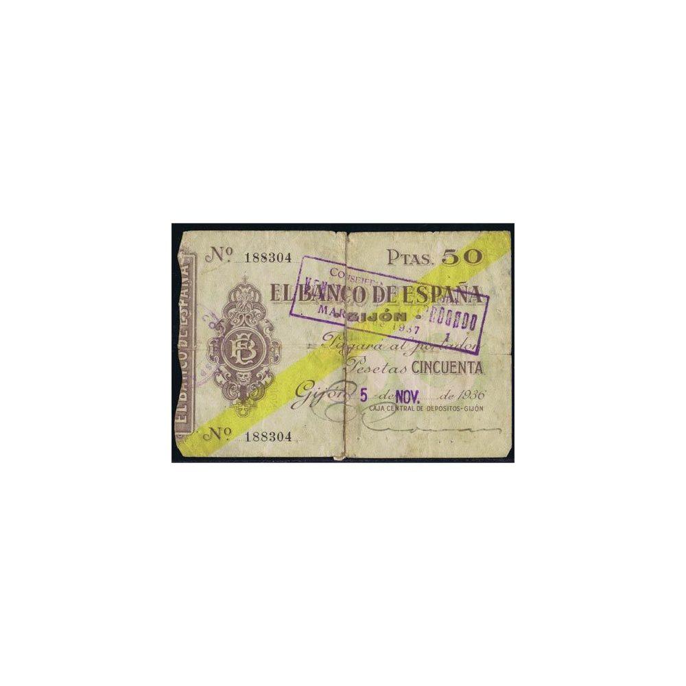 (1936/11/05) Banco de España. Gijon. 50 Pesetas. MBC  - 2