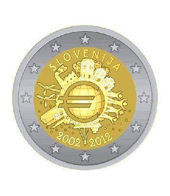"moneda Eslovenia 2 euros 2012 ""X ANIVERSARIO DEL EURO"".  - 2"