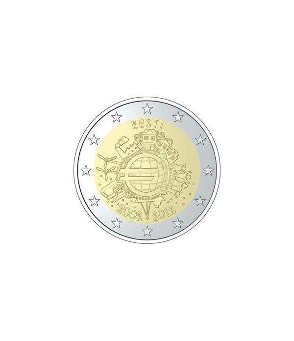 """moneda Estonia 2 euros 2012 """"X ANIVERSARIO DEL EURO"""".  - 2"""