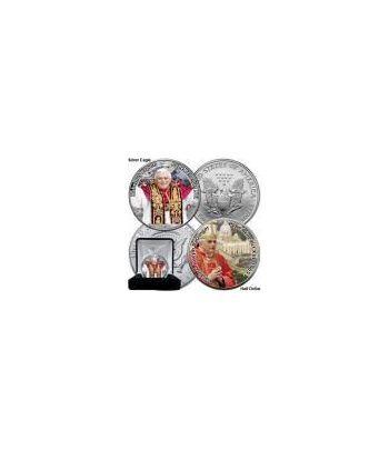 Moneda de plata colorizada 1$ Estados Unidos Benedicto XVI 2005  - 2