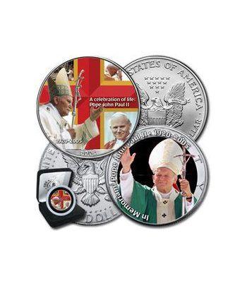 Moneda de plata colorizada 1$ Estados Unidos Juan Pablo II 2005  - 2