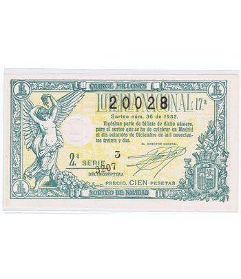 Loteria Nacional. 1932 sorteo 36 (Navidad).  - 2