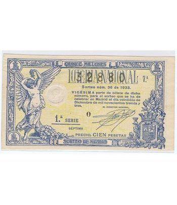 Loteria Nacional. 1933 sorteo 36 (Navidad).  - 2