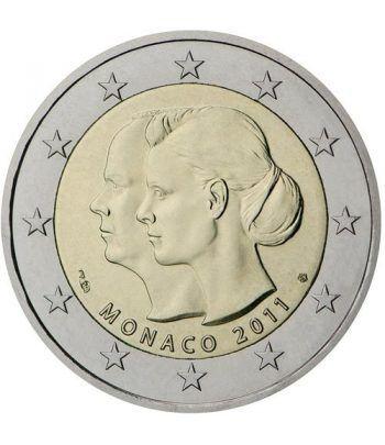 moneda conmemorativa 2 euros Monaco 2011. Boda Alberto II.  - 2